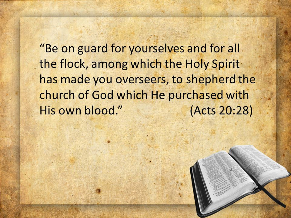 Be on guard for yourselves and for all the flock, among which the Holy Spirit has made you overseers, to shepherd the church of God which He purchased with His own blood. (Acts 20:28)