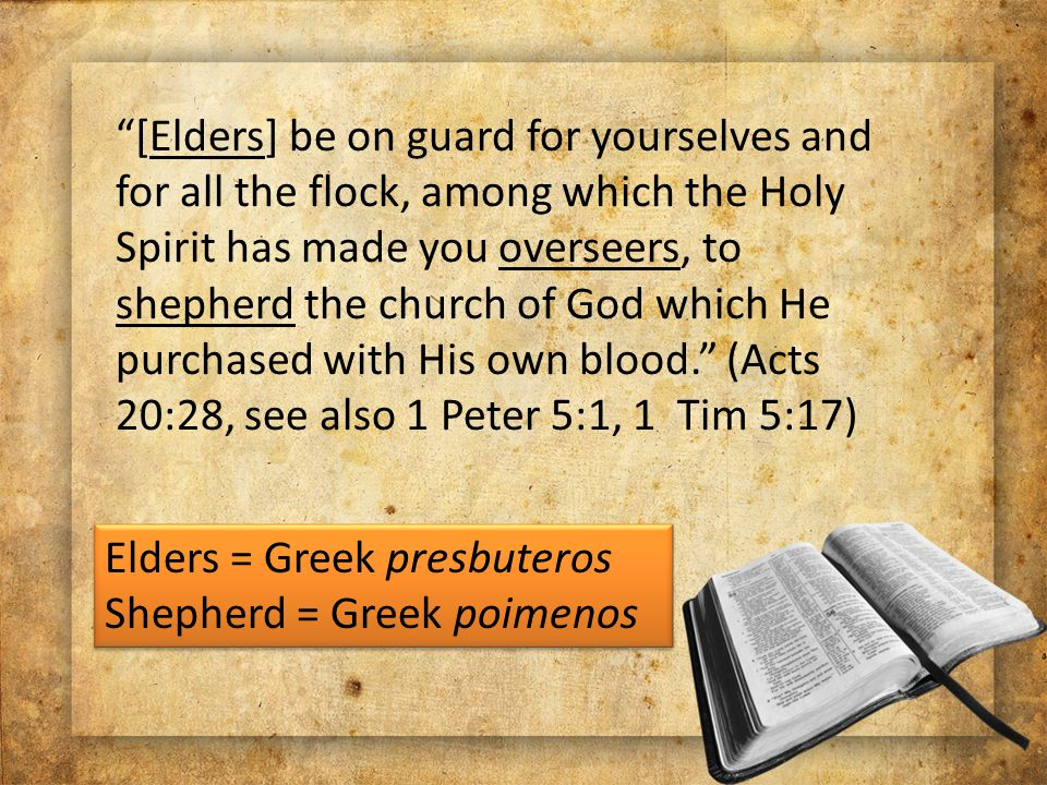 [Elders] be on guard for yourselves and for all the flock, among which the Holy Spirit has made you overseers, to shepherd the church of God which He purchased with His own blood. (Acts 20:28, see also 1 Peter 5:1, 1 Tim 5:17) Elders = Greek presbuteros Shepherd = Greek poimenos