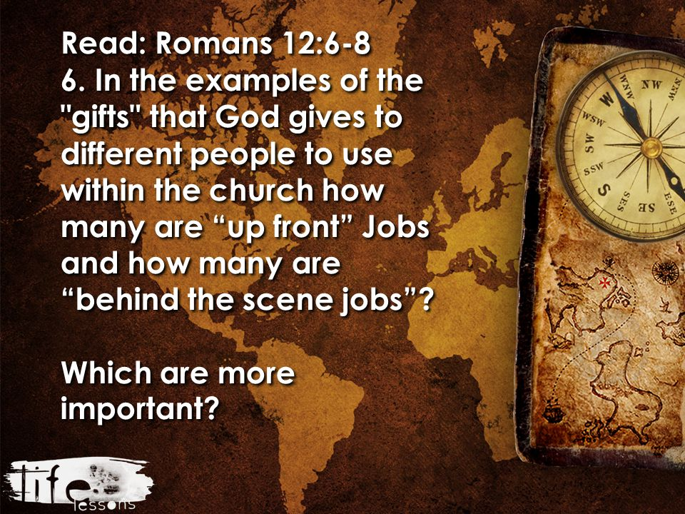 Read: Romans 12:6-8 6. In the examples of the