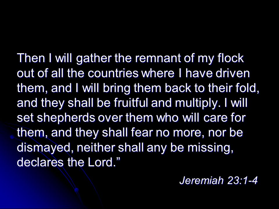 Then I will gather the remnant of my flock out of all the countries where I have driven them, and I will bring them back to their fold, and they shall be fruitful and multiply.