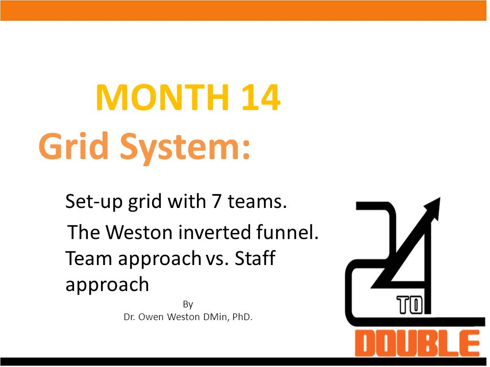 MONTH 14 Grid System: Set-up grid with 7 teams. The Weston inverted funnel. Team approach vs. Staff approach By Dr. Owen Weston DMin, PhD.