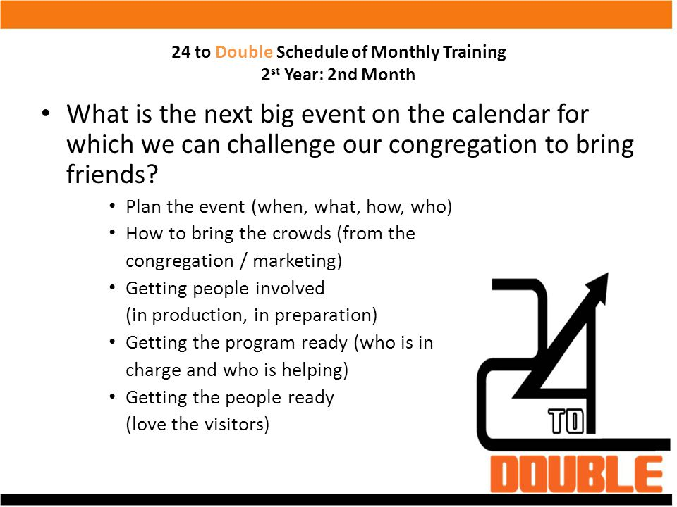 24 to Double Schedule of Monthly Training 2 st Year: 2nd Month What is the next big event on the calendar for which we can challenge our congregation