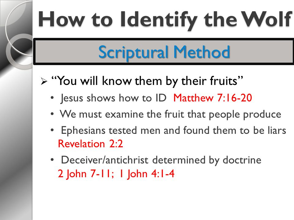 How to Identify the Wolf  You will know them by their fruits Jesus shows how to ID Matthew 7:16-20 We must examine the fruit that people produce Ephesians tested men and found them to be liars Revelation 2:2 Deceiver/antichrist determined by doctrine 2 John 7-11; 1 John 4:1-4 Scriptural Method