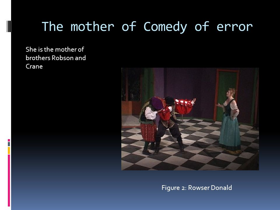 The mother of Comedy of error She is the mother of brothers Robson and Crane Figure 2: Rowser Donald