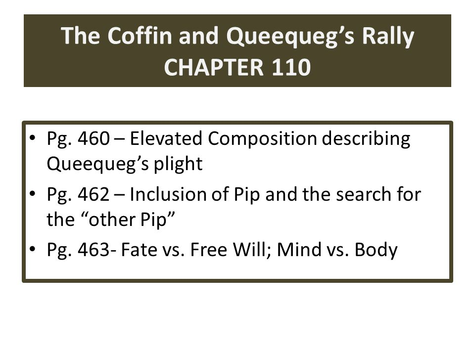 The Coffin and Queequeg's Rally CHAPTER 110 Pg.