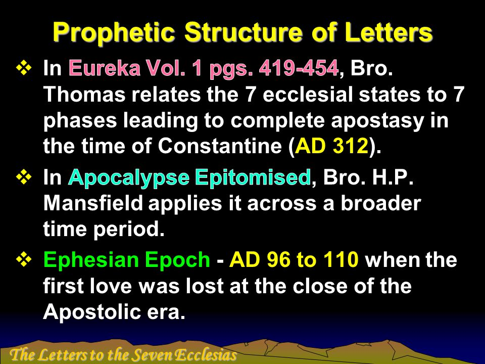 The Letters to the Seven Ecclesias Prophetic Structure of Letters