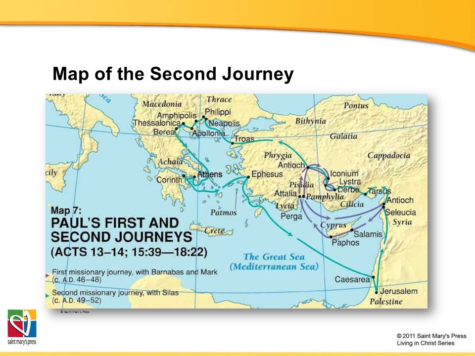 Map of the Second Journey © Saint Mary's Press