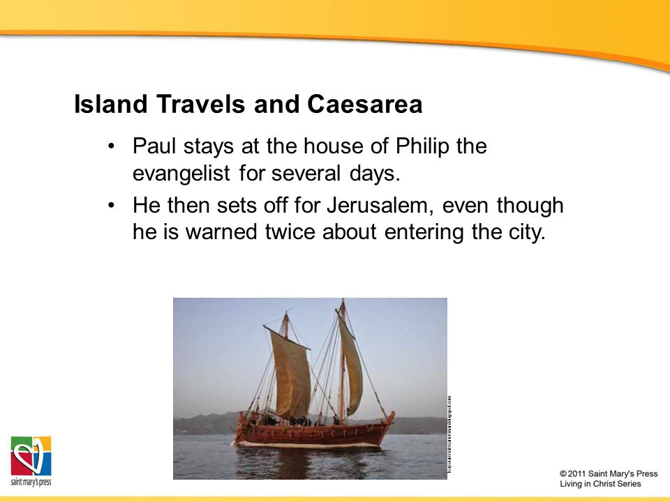 Island Travels and Caesarea Paul stays at the house of Philip the evangelist for several days.