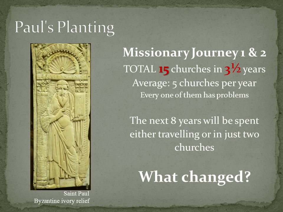 Missionary Journey 1 & 2 15 TOTAL 15 churches in 3½ years Average: 5 churches per year Every one of them has problems The next 8 years will be spent either travelling or in just two churches What changed.