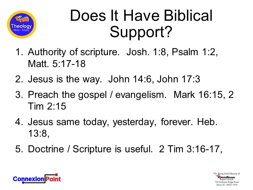Does It Have Biblical Support. 1.Authority of scripture.