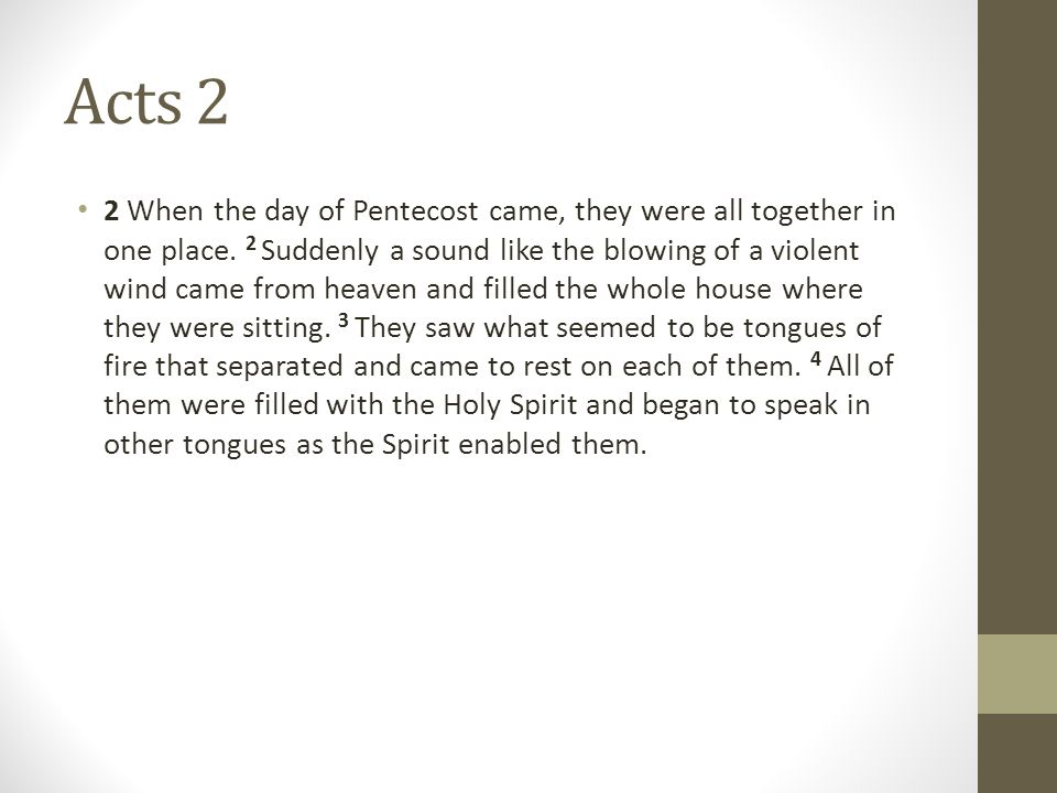 Acts 2 2 When the day of Pentecost came, they were all together in one place.