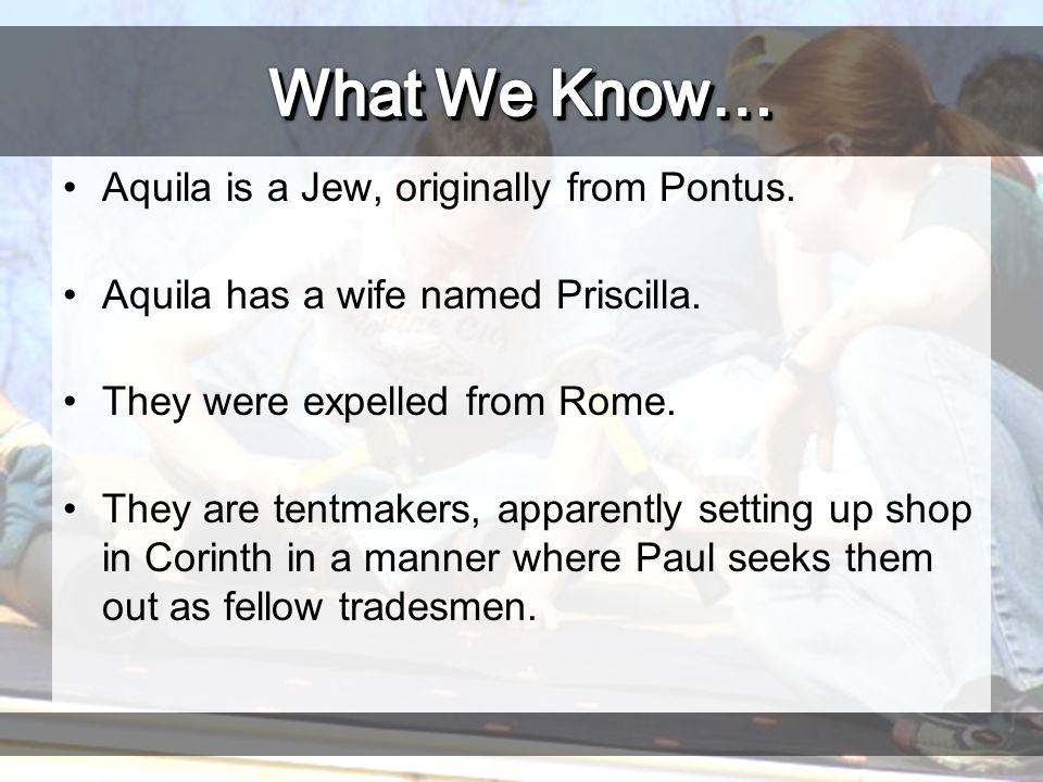 Aquila is a Jew, originally from Pontus. Aquila has a wife named Priscilla.