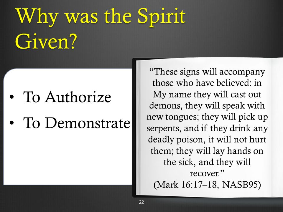 Why was the Spirit Given.
