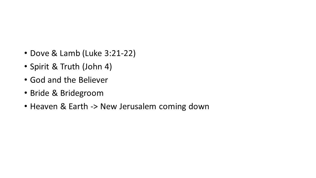 Dove & Lamb (Luke 3:21-22) Spirit & Truth (John 4) God and the Believer Bride & Bridegroom Heaven & Earth -> New Jerusalem coming down