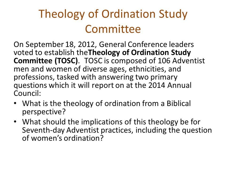 In its study, the Theology of Ordination Study Committee will collaborate with the established division Biblical Research Committees (BRCs) and provide assistance to the BRCs with the comprehensive agenda to be reviewed.