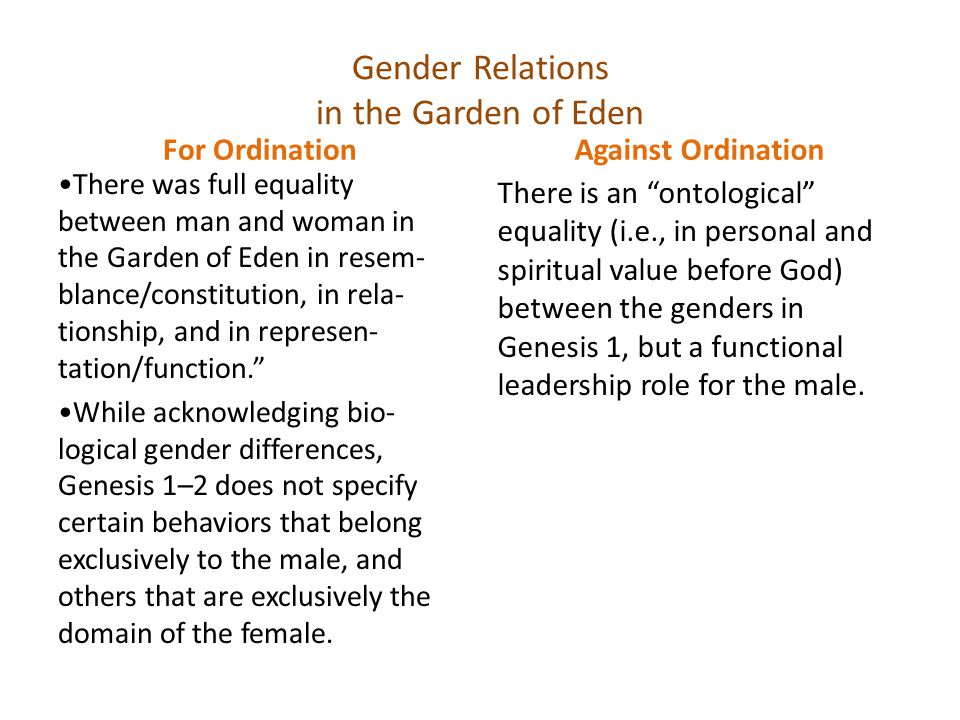 Gender Relations in the Garden of Eden For Ordination There was full equality between man and woman in the Garden of Eden in resem- blance/constitution, in rela- tionship, and in represen- tation/function. While acknowledging bio- logical gender differences, Genesis 1–2 does not specify certain behaviors that belong exclusively to the male, and others that are exclusively the domain of the female.
