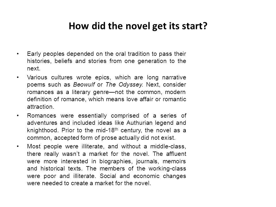 How did the novel get its start.