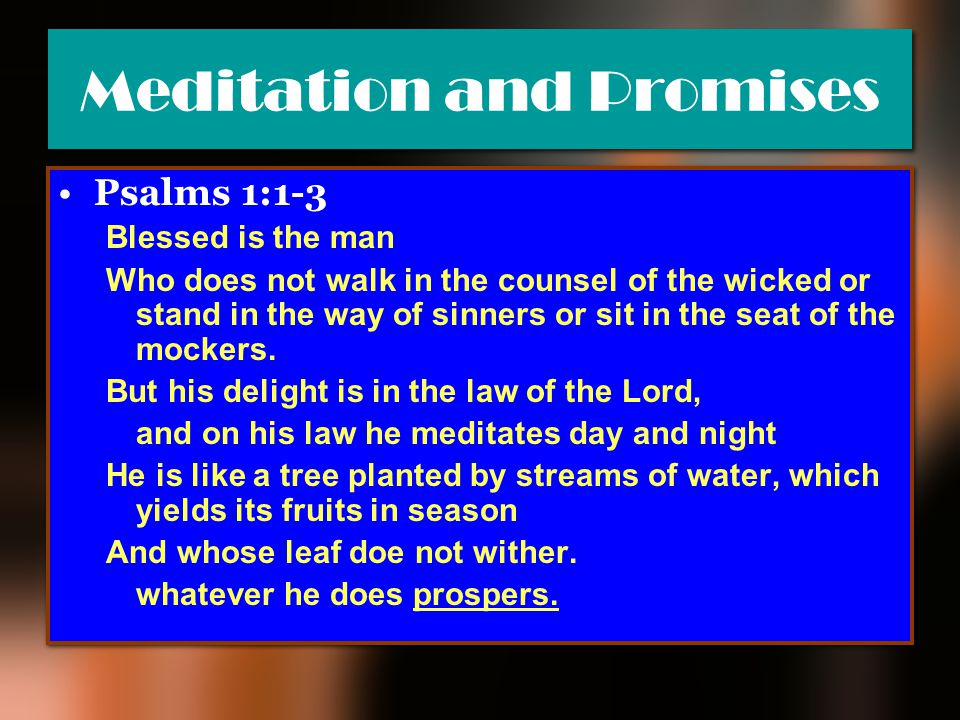 Meditation and Promises Psalms 1:1-3 Blessed is the man Who does not walk in the counsel of the wicked or stand in the way of sinners or sit in the se