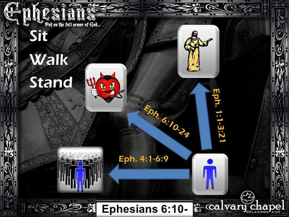 Eph. 1:1-3:21 Eph. 4:1-6:9 Sit Walk Eph. 6:10-24 Stand