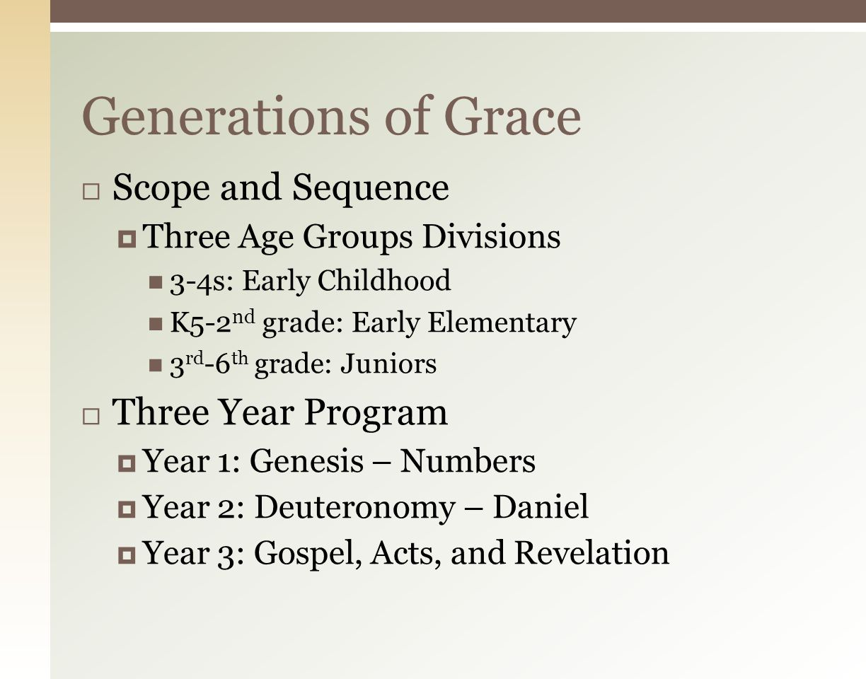 Generations of Grace Curriculum (GOG) by Grace Community Church – Sun Valley, CA New Sunday Night Curriculum: