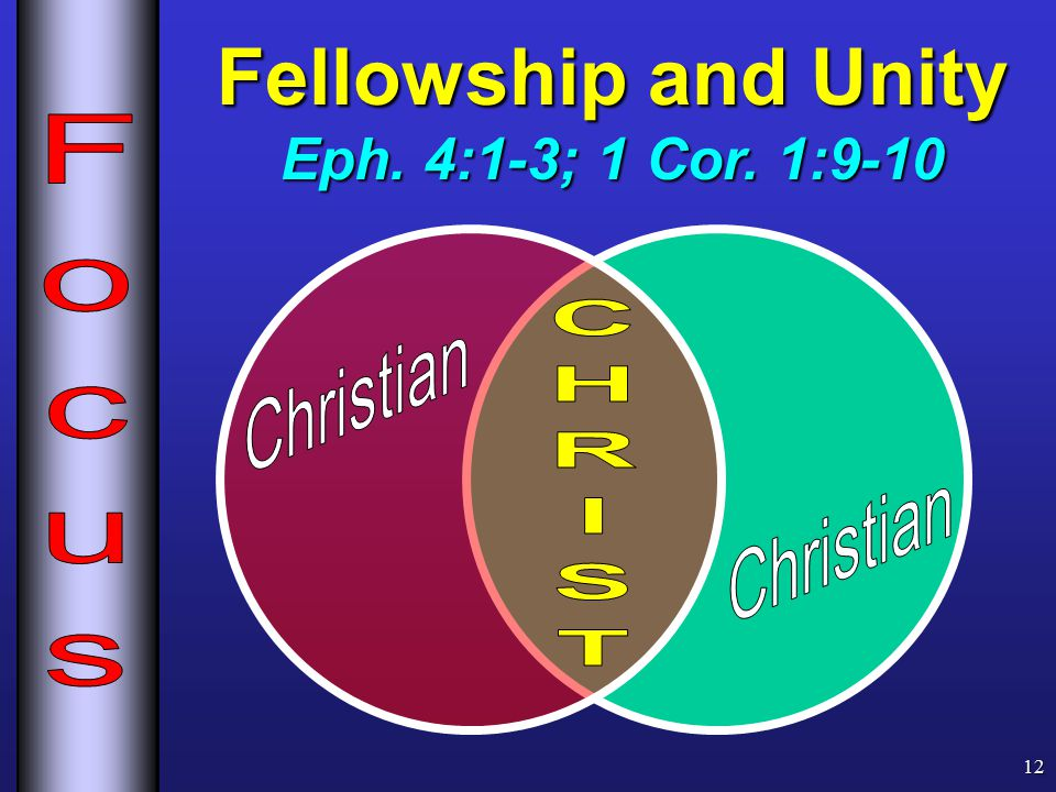 Fellowship and Unity Eph. 4:1-3; 1 Cor. 1:9-10 12