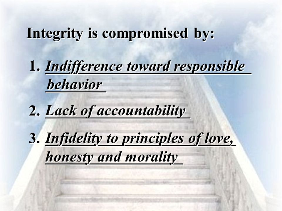 _________________________ __________________ Lack of accountability ___________________________ ________ Indifference toward responsible Integrity is