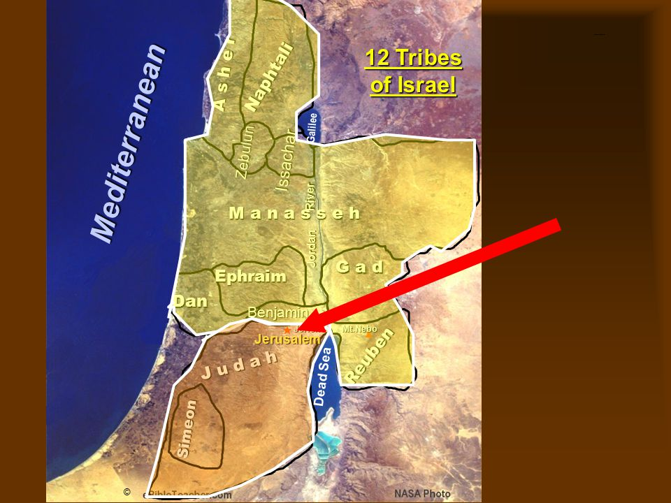 Twelve Tribes of Israel A s h e r Simeon Naphtali Zebulun Issachar Ephraim M a n a s s e h G a d Dan Reuben J u d a h Benjamin Jerusalem Dead Sea Gali