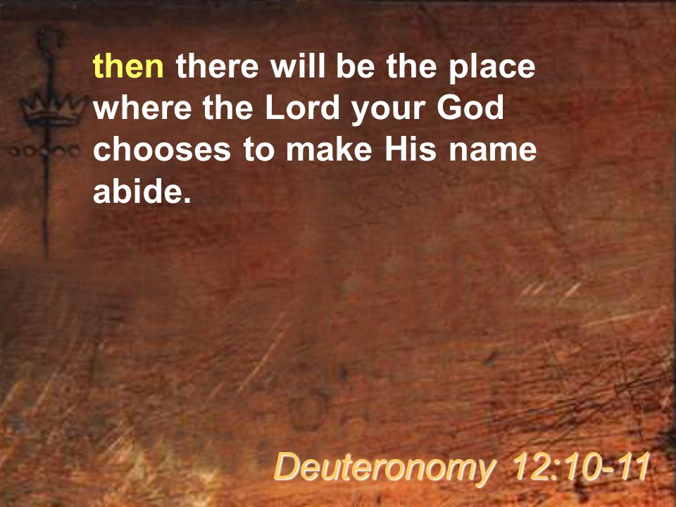 then there will be the place where the Lord your God chooses to make His name abide. Deuteronomy 12:10-11