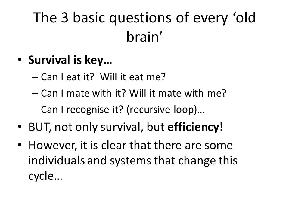 The 3 basic questions of every 'old brain' Survival is key… – Can I eat it.