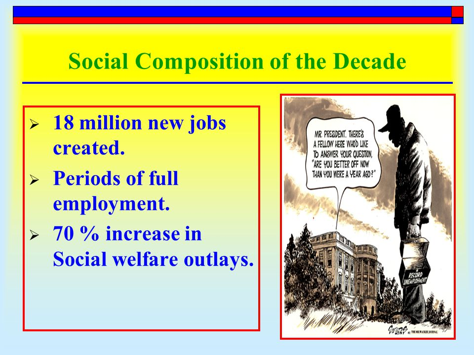 Social Composition of the Decade  18 million new jobs created.