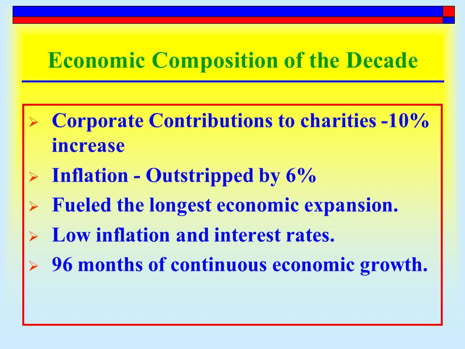 Economic Composition of the Decade  Corporate Contributions to charities -10% increase  Inflation - Outstripped by 6%  Fueled the longest economic expansion.