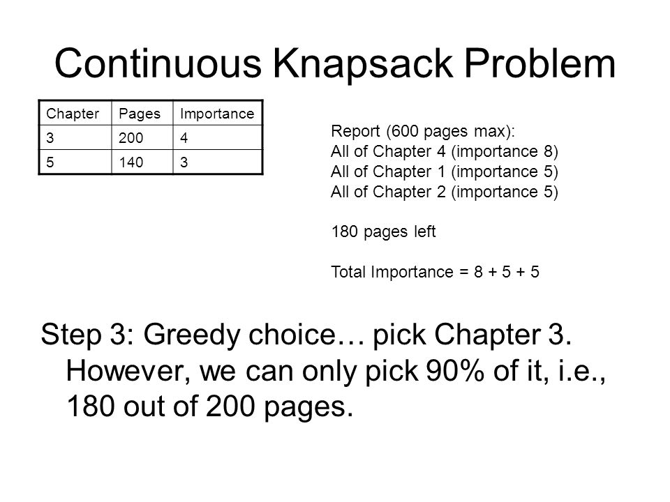 Continuous Knapsack Problem Step 3: Greedy choice… pick Chapter 3.