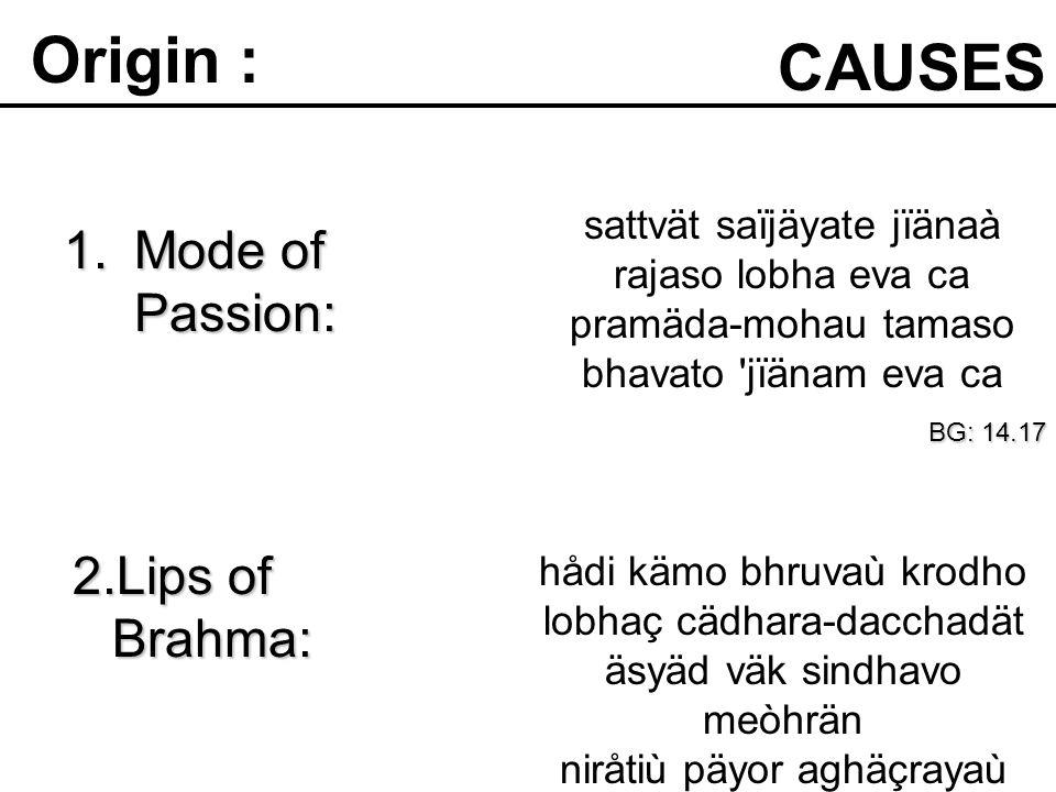 1.Mode of Passion: CAUSES Origin : sattvät saïjäyate jïänaà rajaso lobha eva ca pramäda-mohau tamaso bhavato jïänam eva ca BG: 14.17 hådi kämo bhruvaù krodho lobhaç cädhara-dacchadät äsyäd väk sindhavo meòhrän niråtiù päyor aghäçrayaù SB: 3.12.26 2.Lips of Brahma: