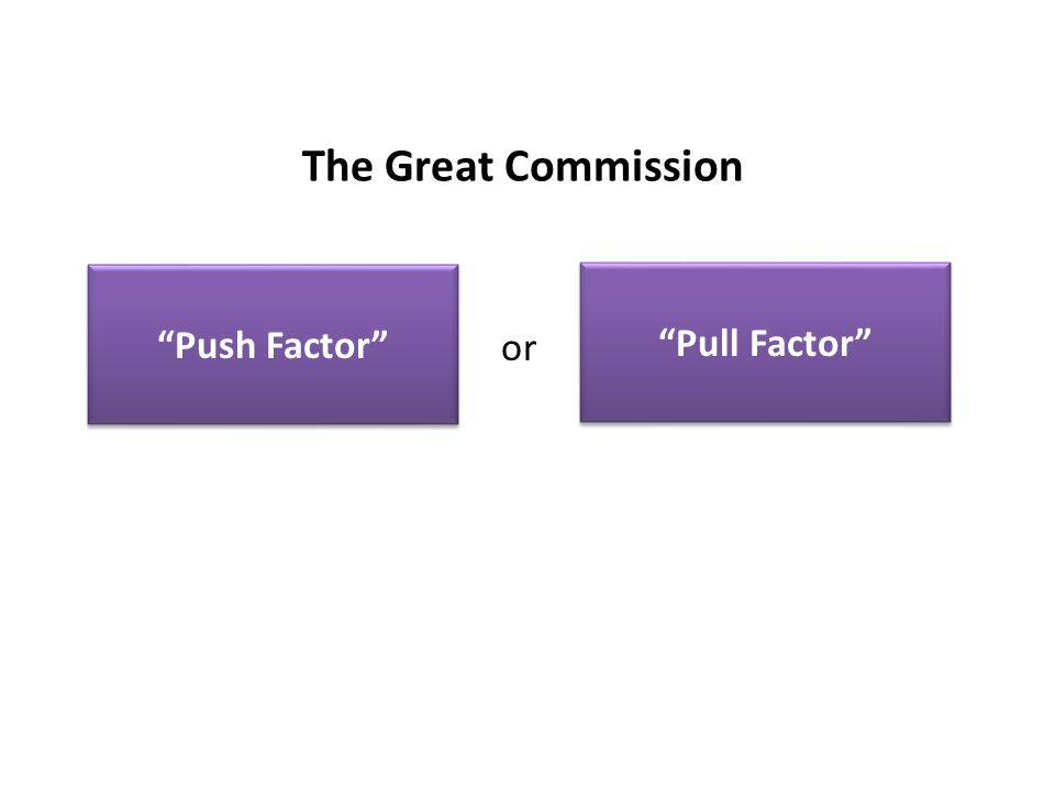 The Great Commission Push Factor Pull Factor or