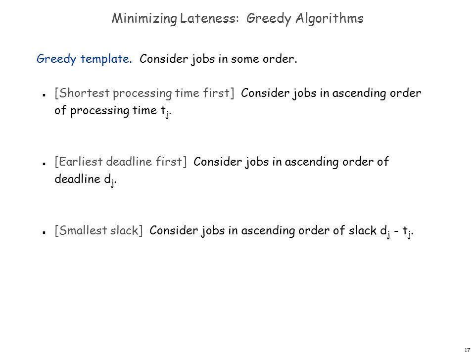 17 Minimizing Lateness: Greedy Algorithms Greedy template.