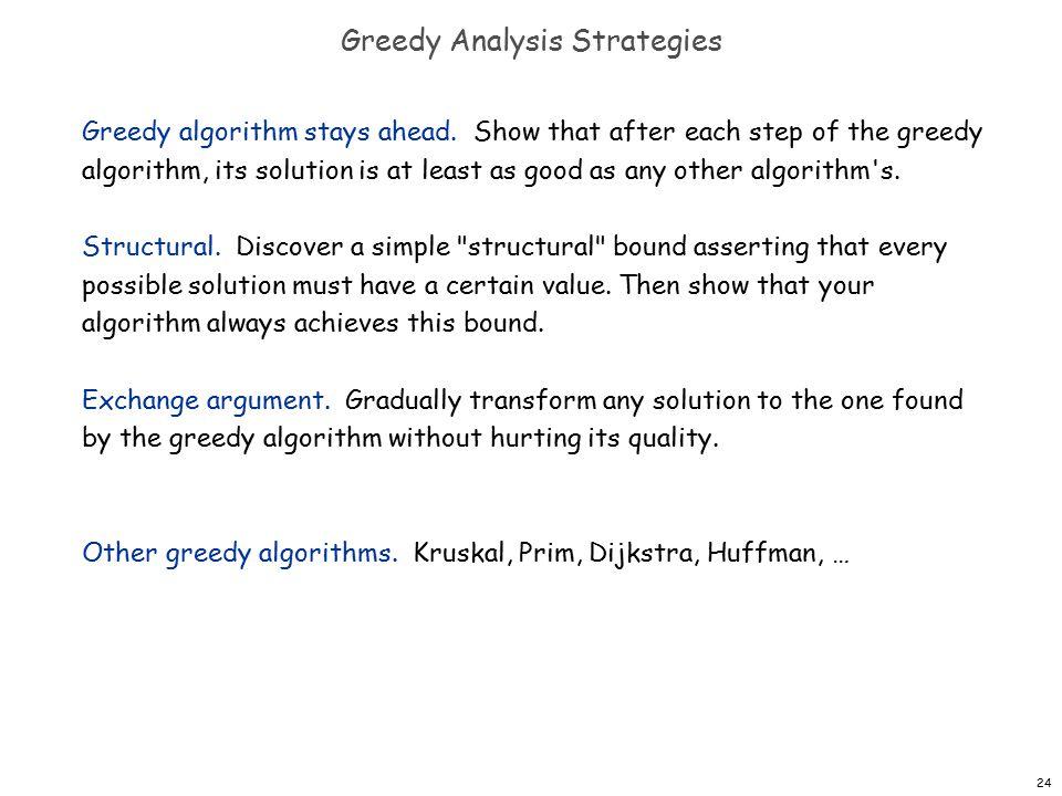 24 Greedy Analysis Strategies Greedy algorithm stays ahead.