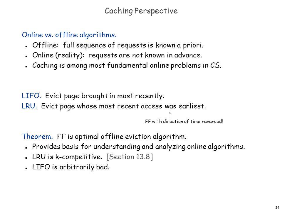 34 Caching Perspective Online vs. offline algorithms.