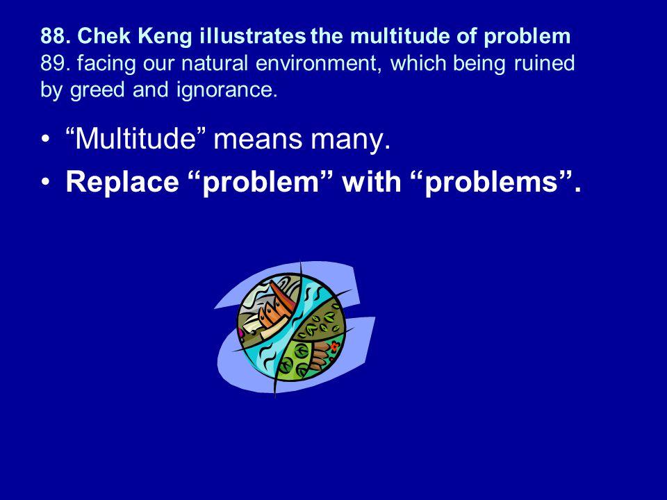 88.Chek Keng illustrates the multitude of problem 89.