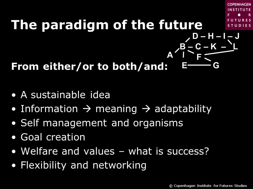 © Copenhagen Institute for Futures Studies The paradigm of the future From either/or to both/and: A sustainable idea Information  meaning  adaptability Self management and organisms Goal creation Welfare and values – what is success.