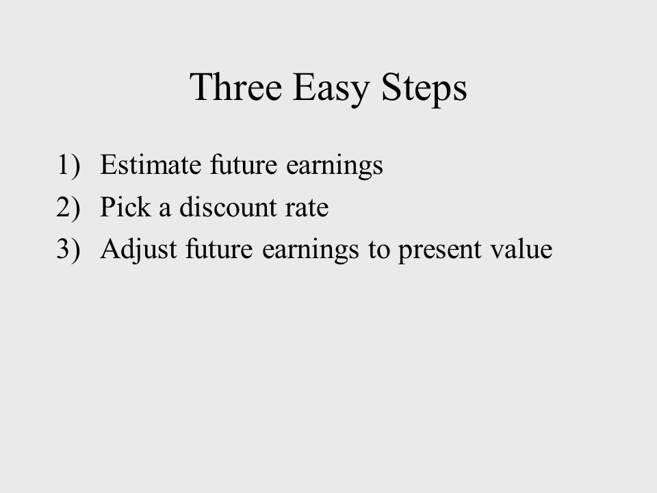 Three Easy Steps 1)Estimate future earnings 2)Pick a discount rate 3)Adjust future earnings to present value