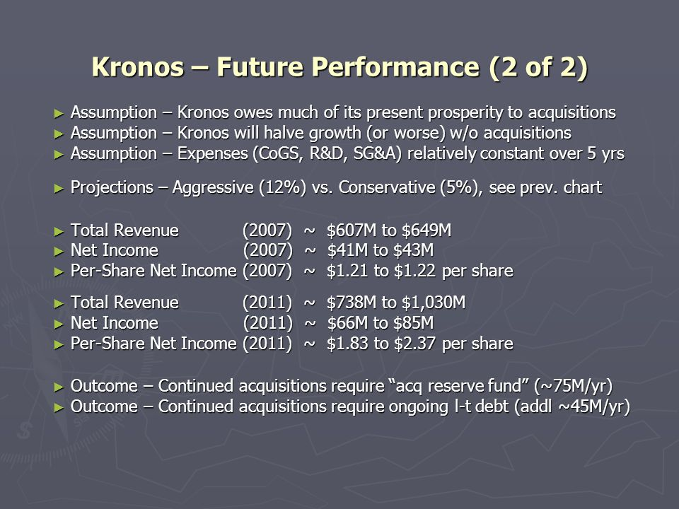 Kronos – Future Performance (2 of 2) ► Assumption – Kronos owes much of its present prosperity to acquisitions ► Assumption – Kronos will halve growth (or worse) w/o acquisitions ► Assumption – Expenses (CoGS, R&D, SG&A) relatively constant over 5 yrs ► Projections – Aggressive (12%) vs.
