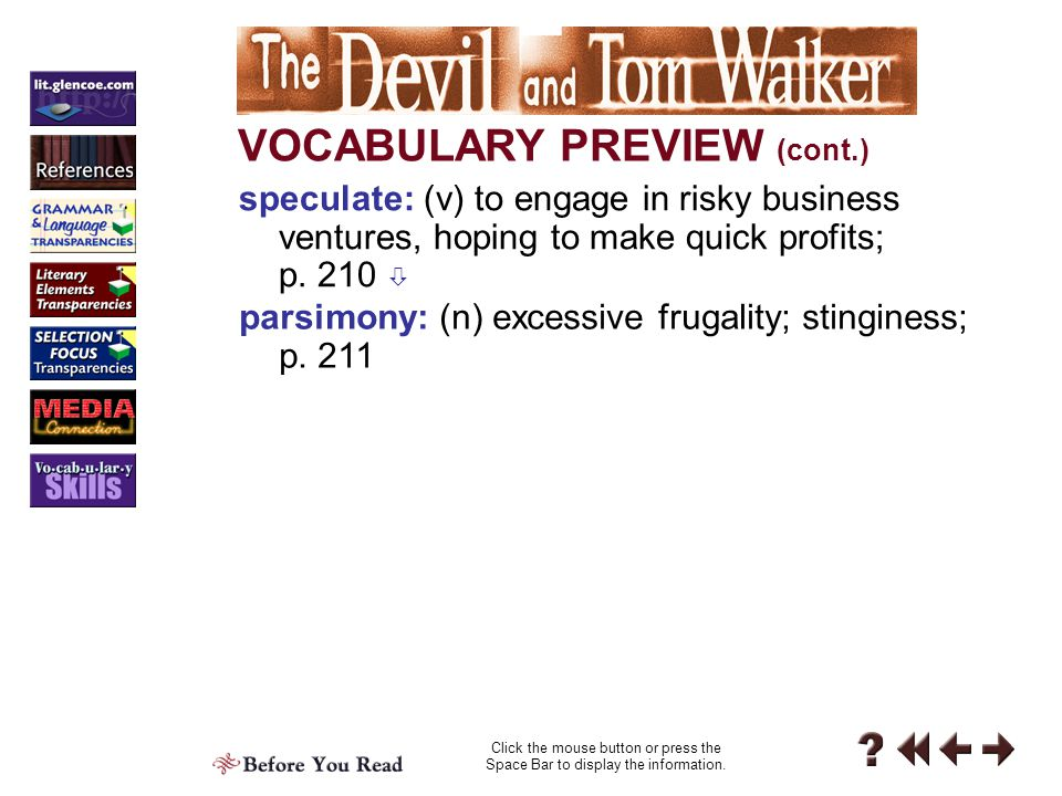 Before 1-4a VOCABULARY PREVIEW Click the mouse button or press the Space Bar to display the information.
