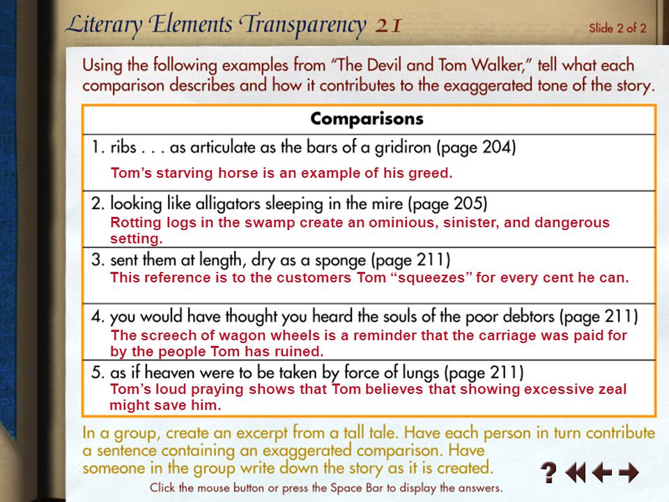 Literary Elements Transparency 1-1