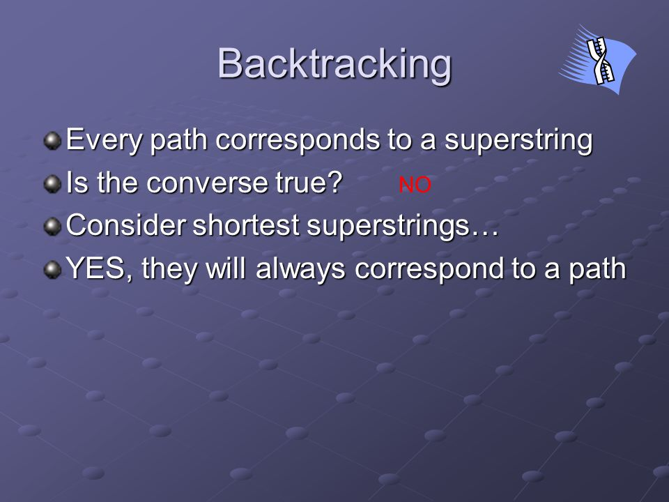 Backtracking Every path corresponds to a superstring Is the converse true.