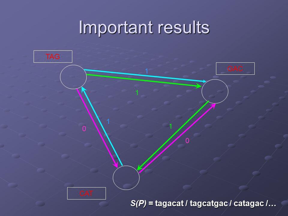 Important results TAG CAT GAC 1 1 0 0 1 1 S(P) = tagacat / tagcatgac / catagac /…