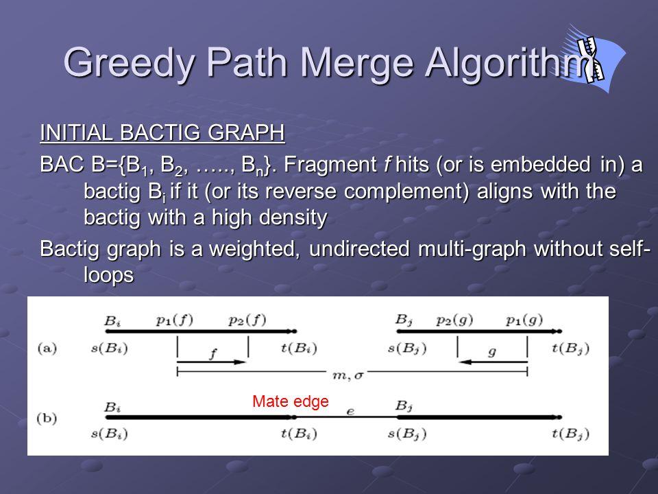 Mate edge Greedy Path Merge Algorithm INITIAL BACTIG GRAPH BAC B={B 1, B 2, ….., B n }.
