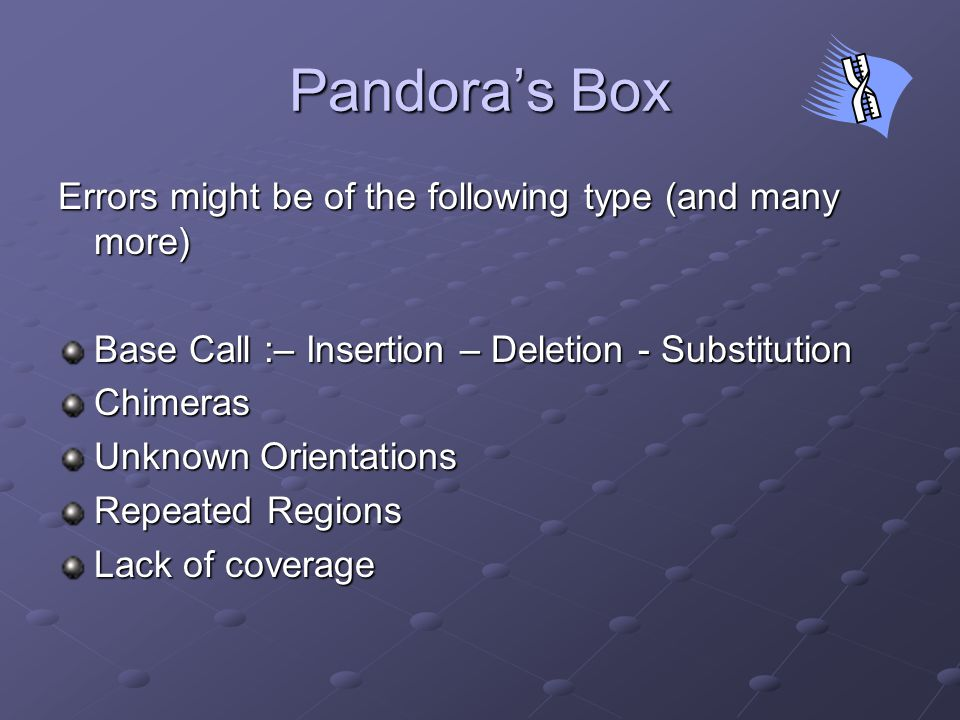 Pandora's Box Errors might be of the following type (and many more) Base Call :– Insertion – Deletion - Substitution Chimeras Unknown Orientations Repeated Regions Lack of coverage