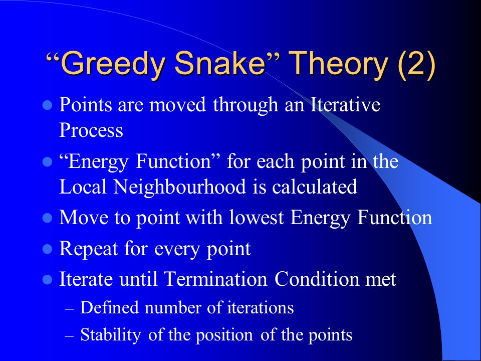 Greedy Snake Theory (1) Initial Points defined around Feature to be extracted – Explicitly defined – Approximation of an Ellipse Pre-defined number of Points generated