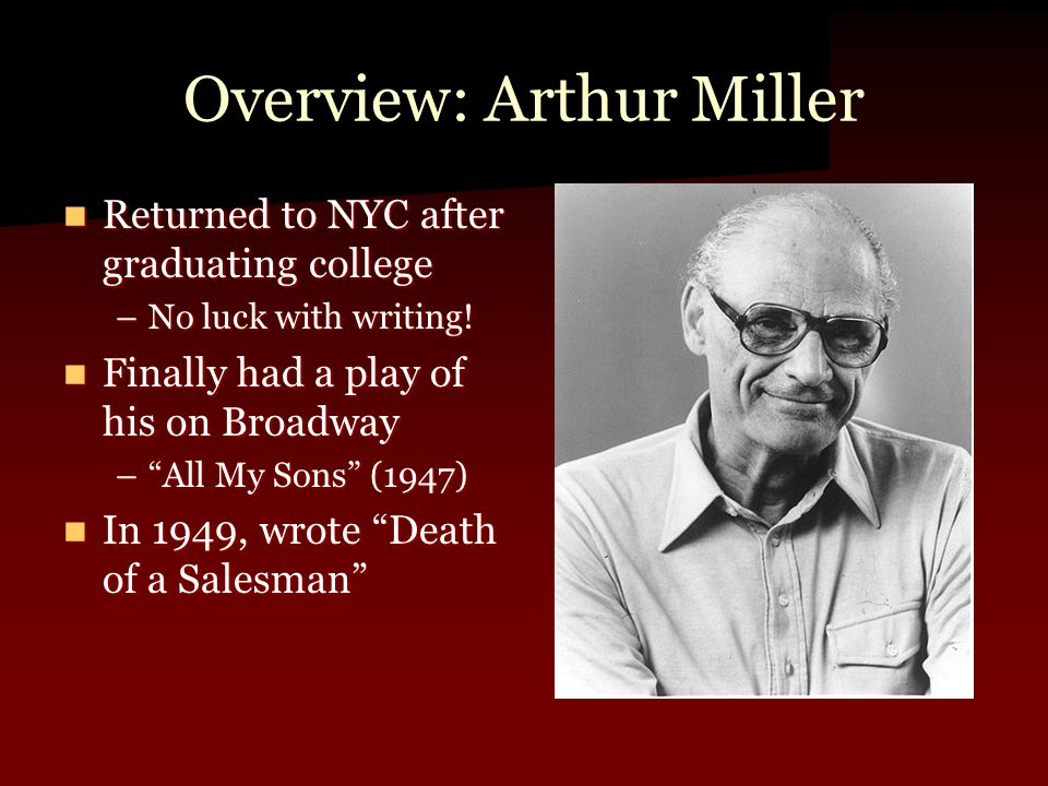Overview: Arthur Miller Returned to NYC after graduating college Returned to NYC after graduating college –No luck with writing.