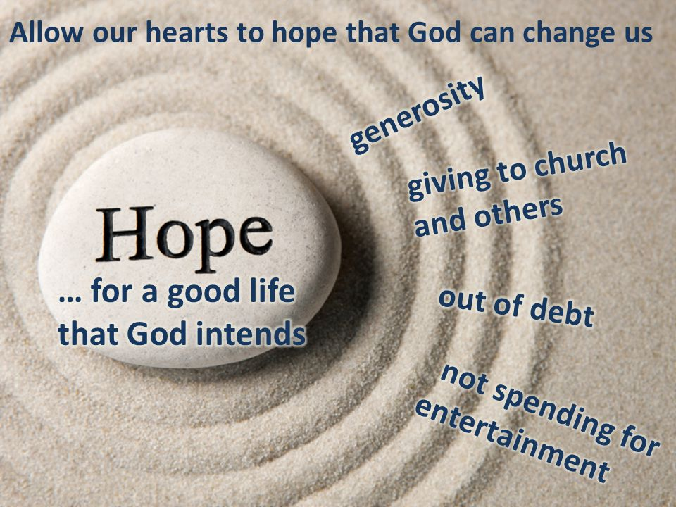 Allow our hearts to hope that God can change us
